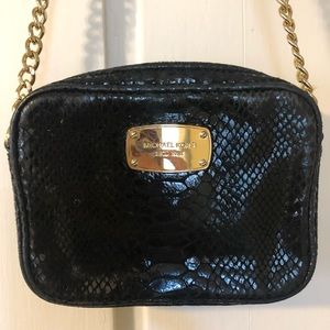 Michael Kors Black Snakeskin Leather Crossbody